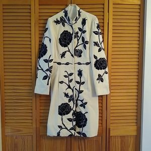 Newport News coat White, Embroidered black flowers